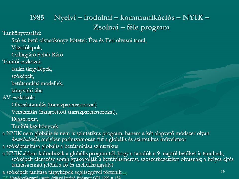1985 Nyelvi – irodalmi – kommunikációs – NYIK – Zsolnai – féle program