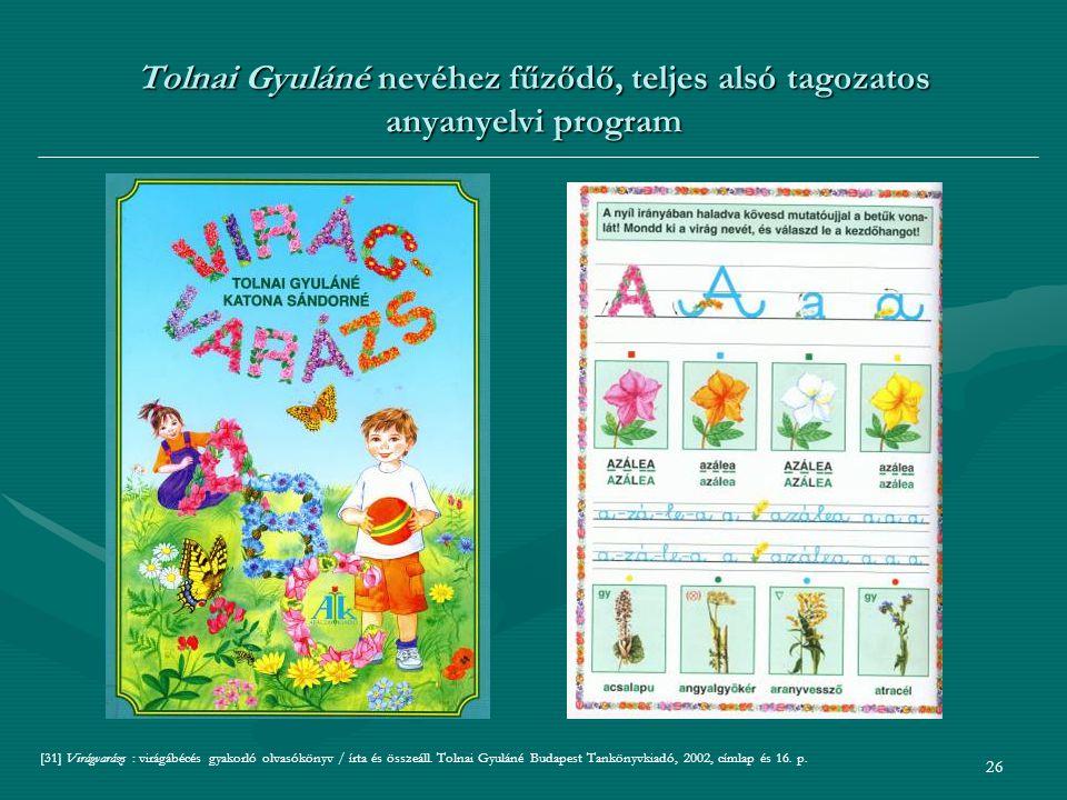 Tolnai Gyuláné nevéhez fűződő, teljes alsó tagozatos anyanyelvi program
