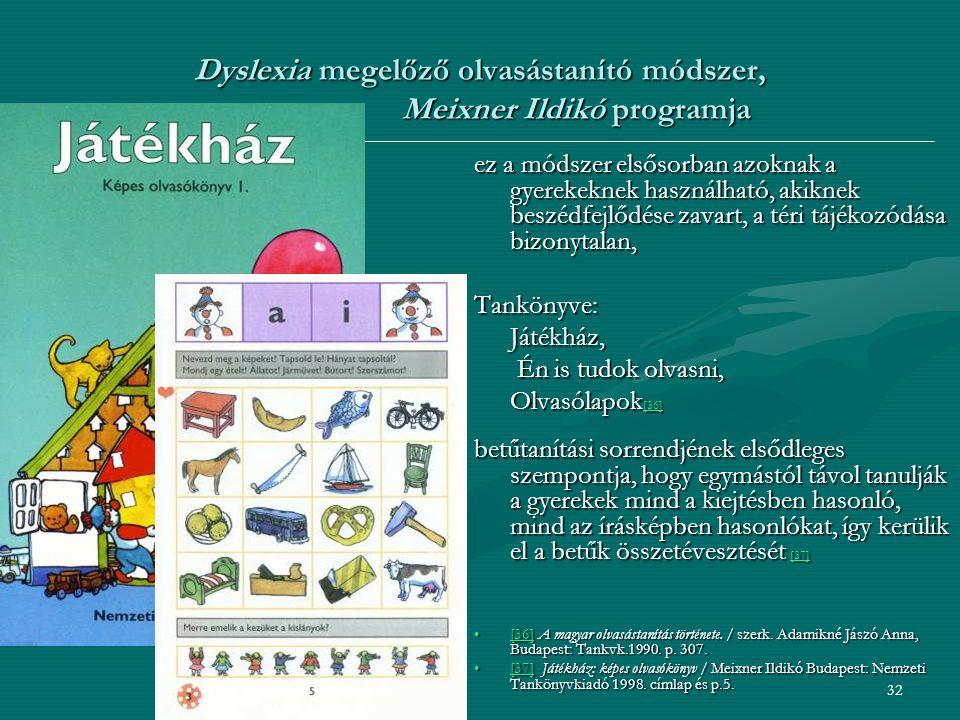 Dyslexia megelőző olvasástanító módszer, Meixner Ildikó programja