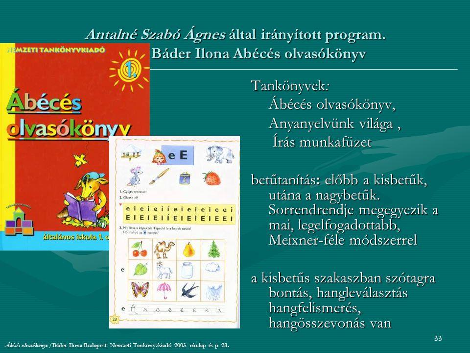 Antalné Szabó Ágnes által irányított program