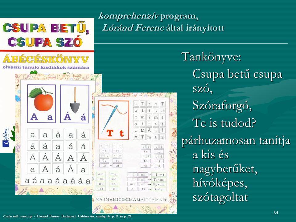 komprehenzív program, Lóránd Ferenc által irányított