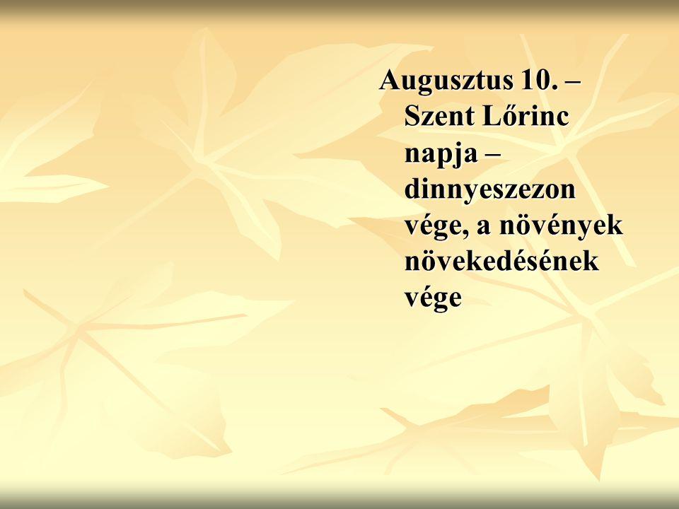 Augusztus 10. – Szent Lőrinc napja – dinnyeszezon vége, a növények növekedésének vége