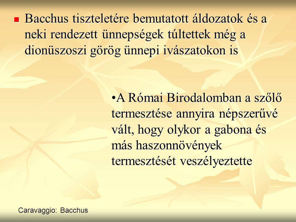 Bacchus tiszteletére bemutatott áldozatok és a neki rendezett ünnepségek túltettek még a dionüszoszi görög ünnepi ivászatokon is