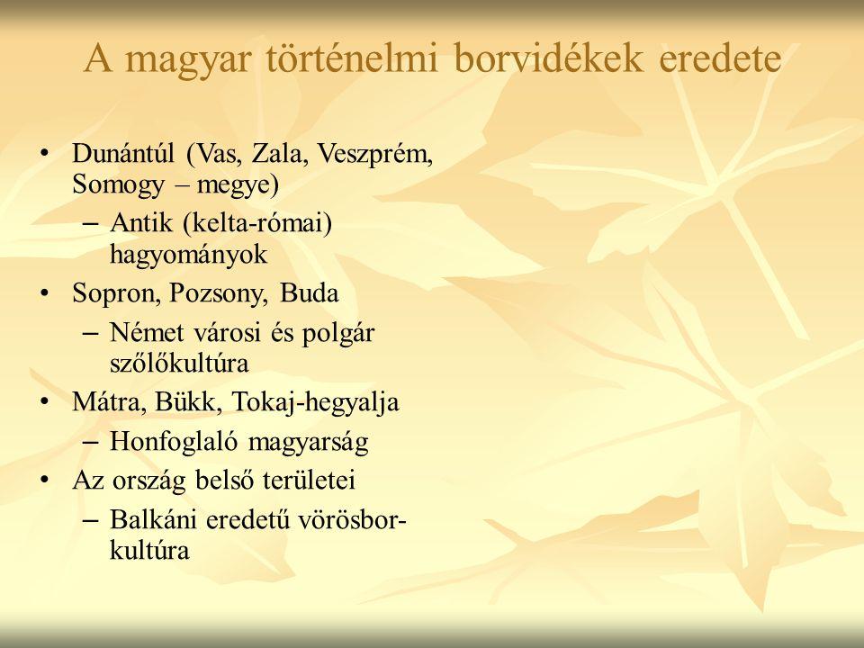 A magyar történelmi borvidékek eredete