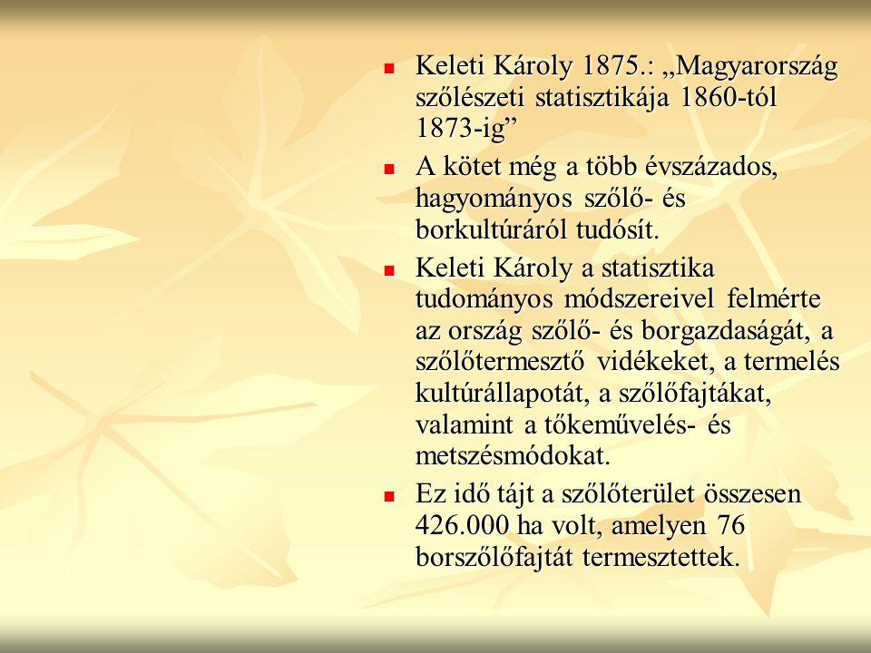 """Keleti Károly 1875.: """"Magyarország szőlészeti statisztikája 1860-tól 1873-ig"""