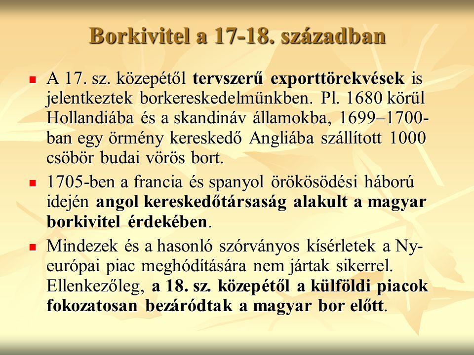 Borkivitel a 17-18. században