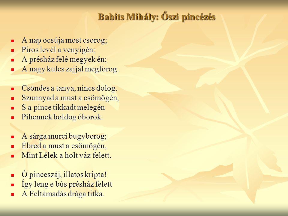 Babits Mihály: Őszi pincézés
