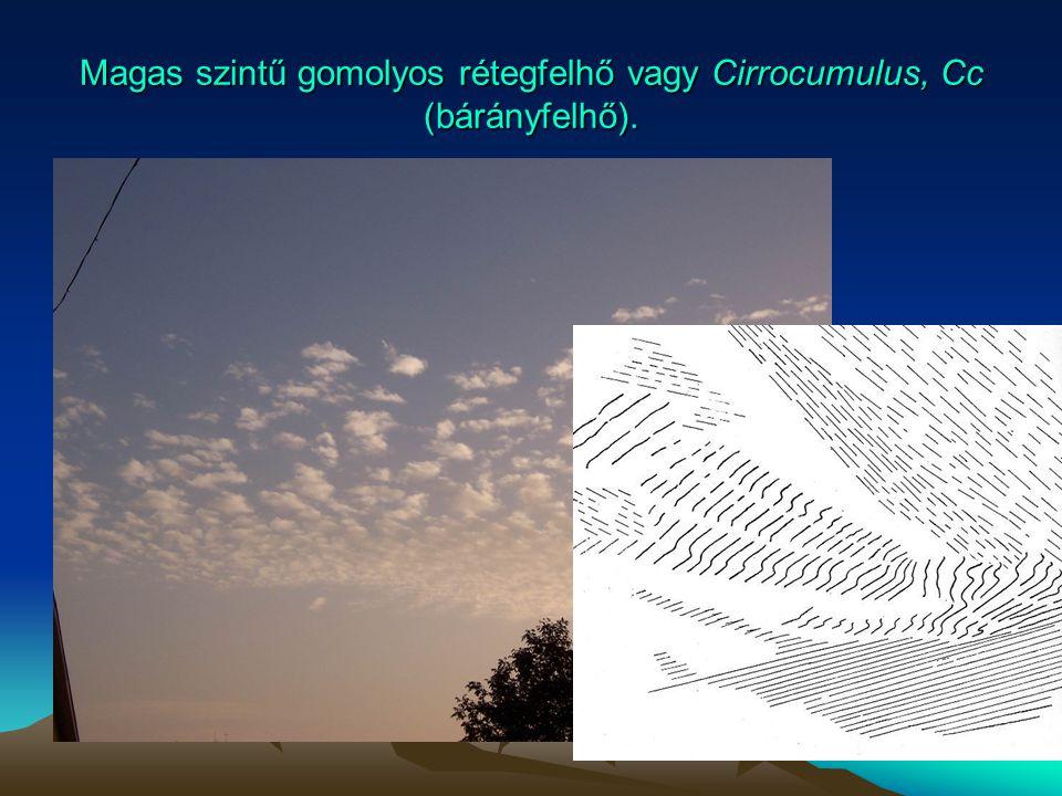 Magas szintű gomolyos rétegfelhő vagy Cirrocumulus, Cc (bárányfelhő).