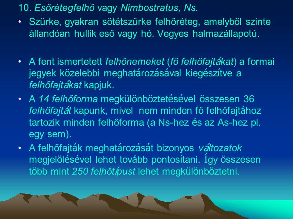 10. Esőrétegfelhő vagy Nimbostratus, Ns.