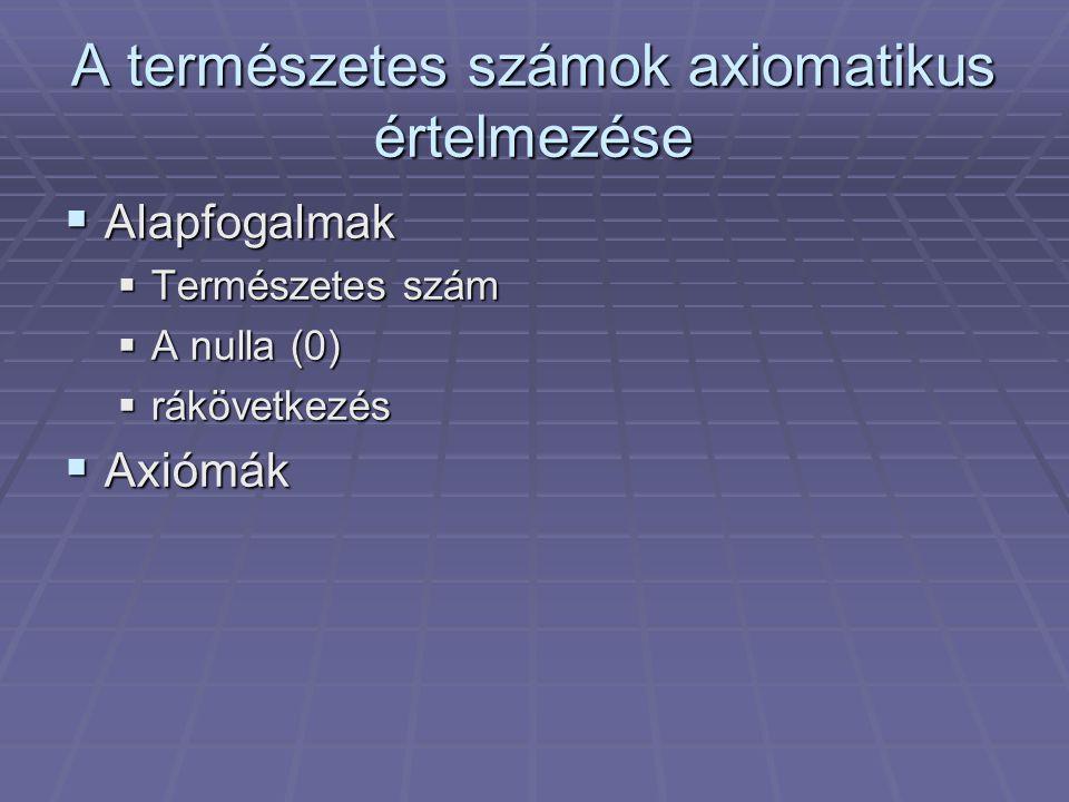 A természetes számok axiomatikus értelmezése
