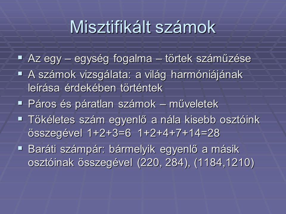 Misztifikált számok Az egy – egység fogalma – törtek száműzése