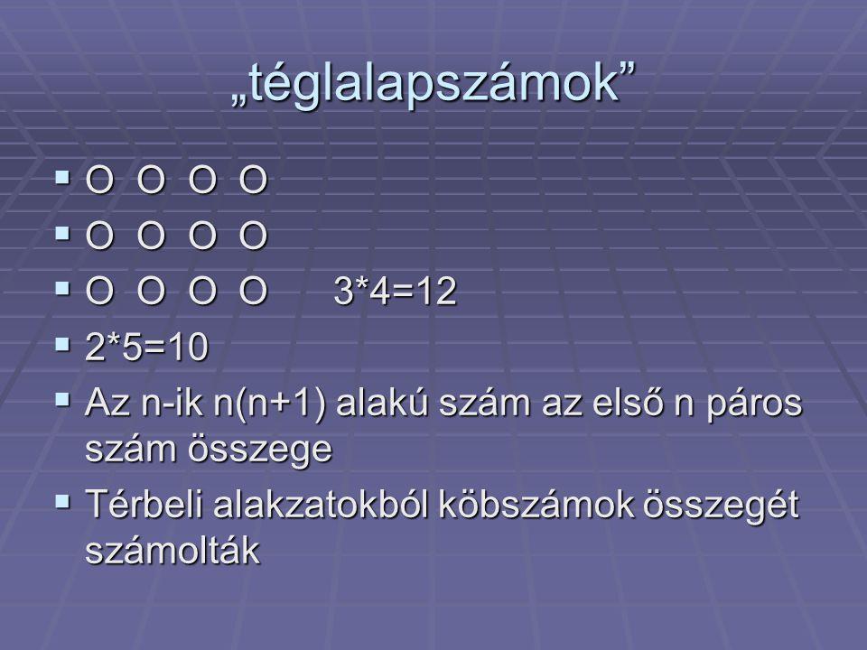 """""""téglalapszámok O O O O O O O O 3*4=12 2*5=10"""