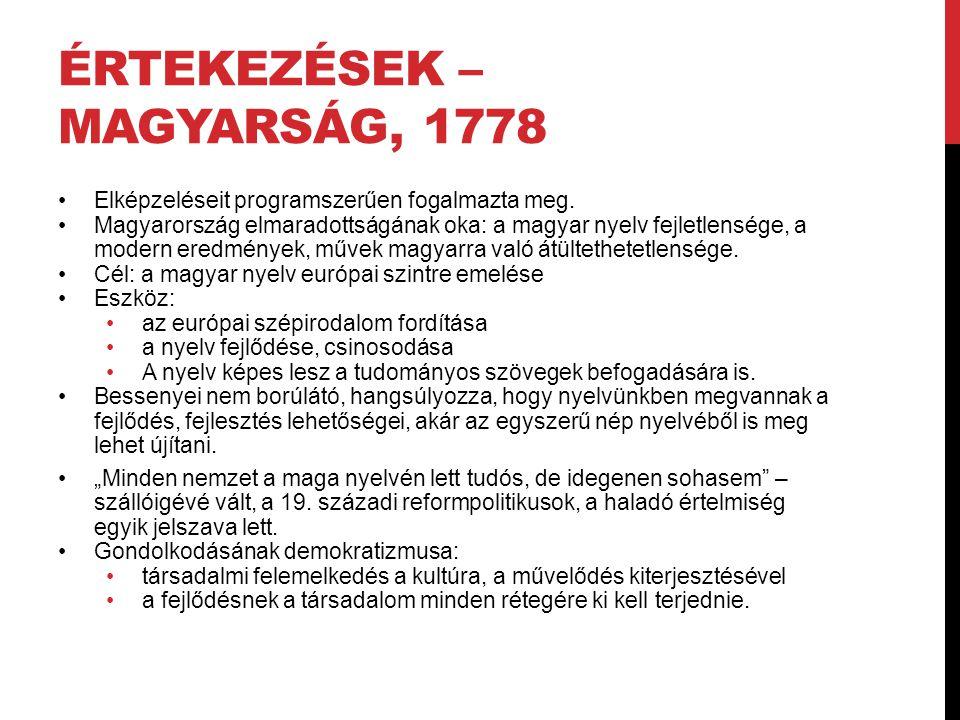 Értekezések – Magyarság, 1778