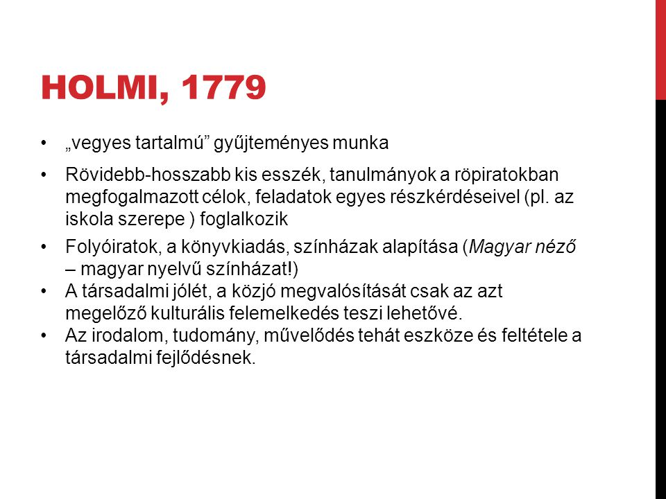 """Holmi, 1779 """"vegyes tartalmú gyűjteményes munka"""