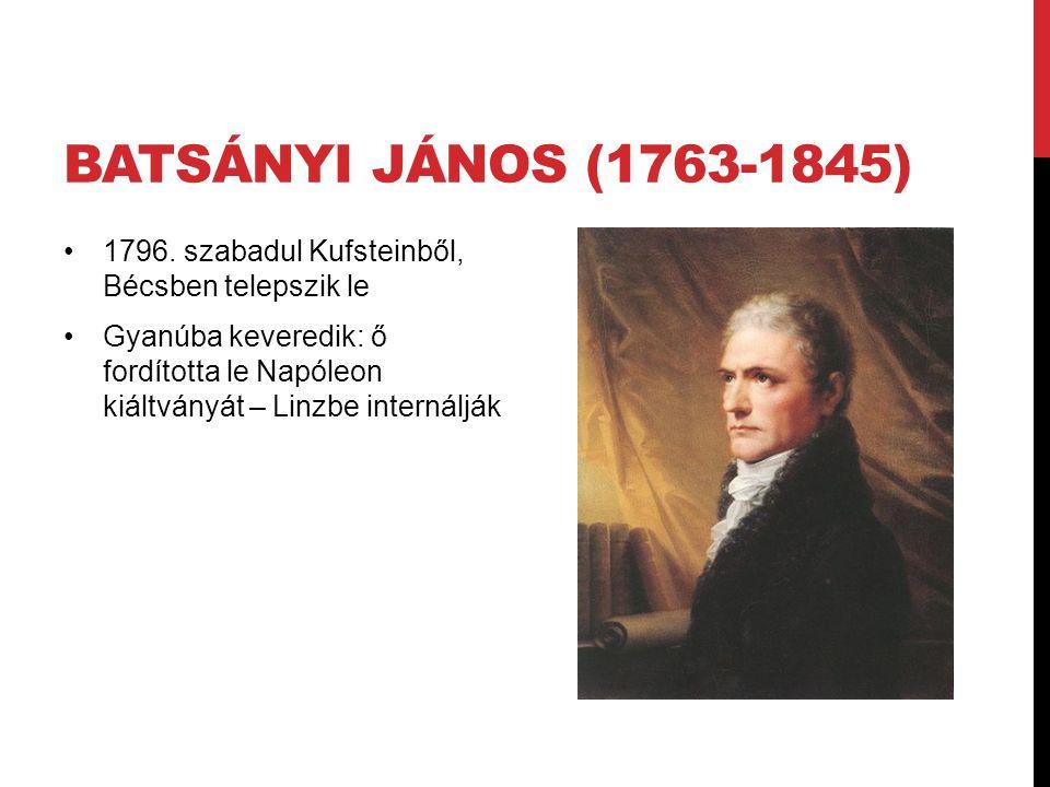 Batsányi János (1763-1845) 1796. szabadul Kufsteinből, Bécsben telepszik le.