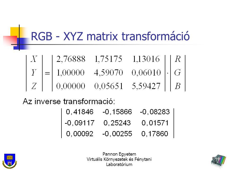 RGB - XYZ matrix transformáció