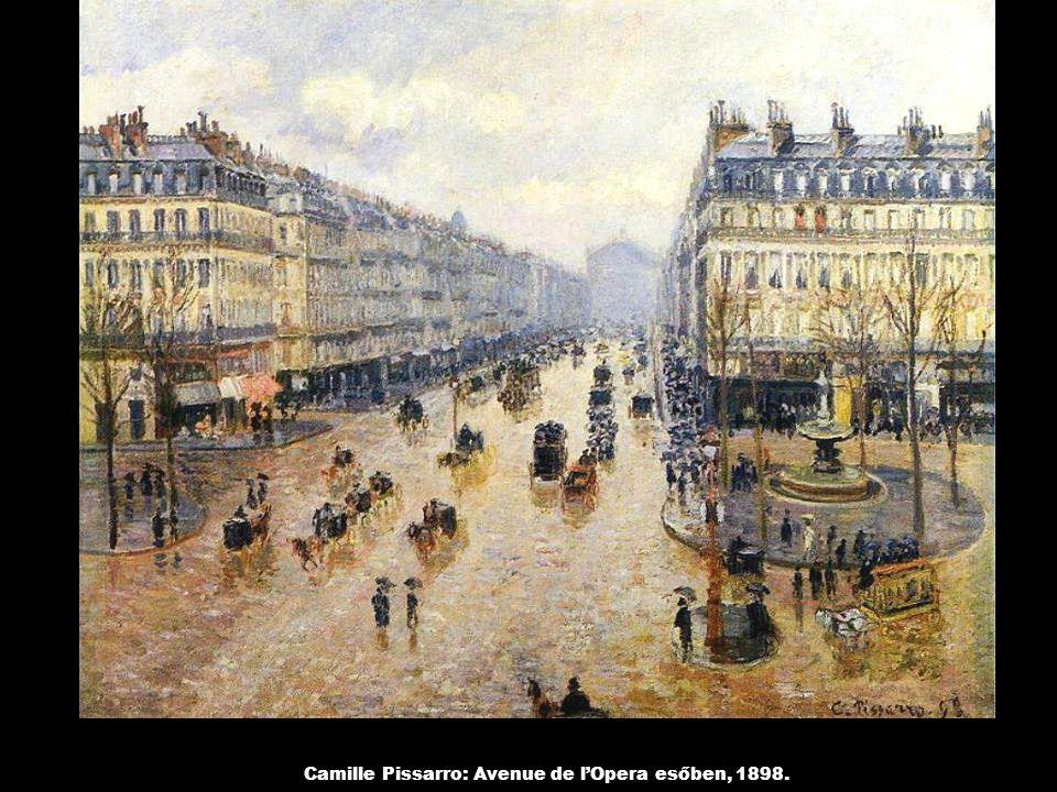 Camille Pissarro: Avenue de l'Opera esőben, 1898.