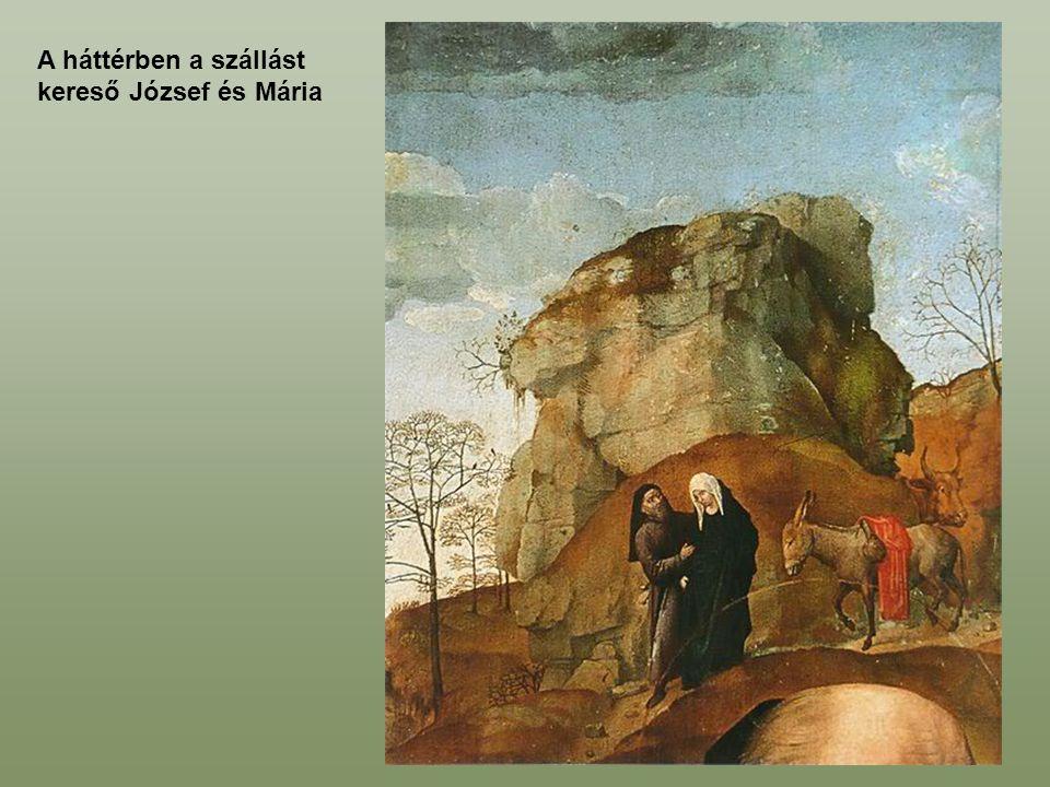 A háttérben a szállást kereső József és Mária