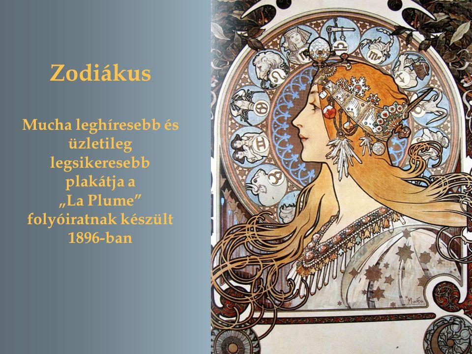 """Zodiákus Mucha leghíresebb és üzletileg legsikeresebb plakátja a """"La Plume folyóiratnak készült 1896-ban"""
