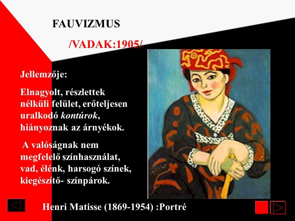 FAUVIZMUS /VADAK:1905/ Jellemzője: