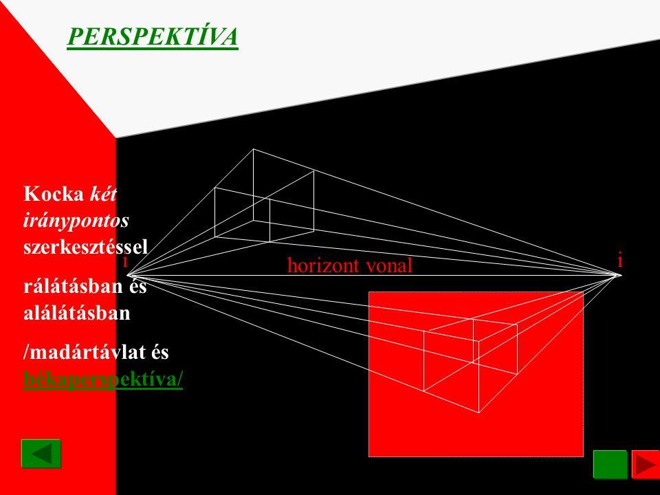 PERSPEKTÍVA Kocka két iránypontos szerkesztéssel