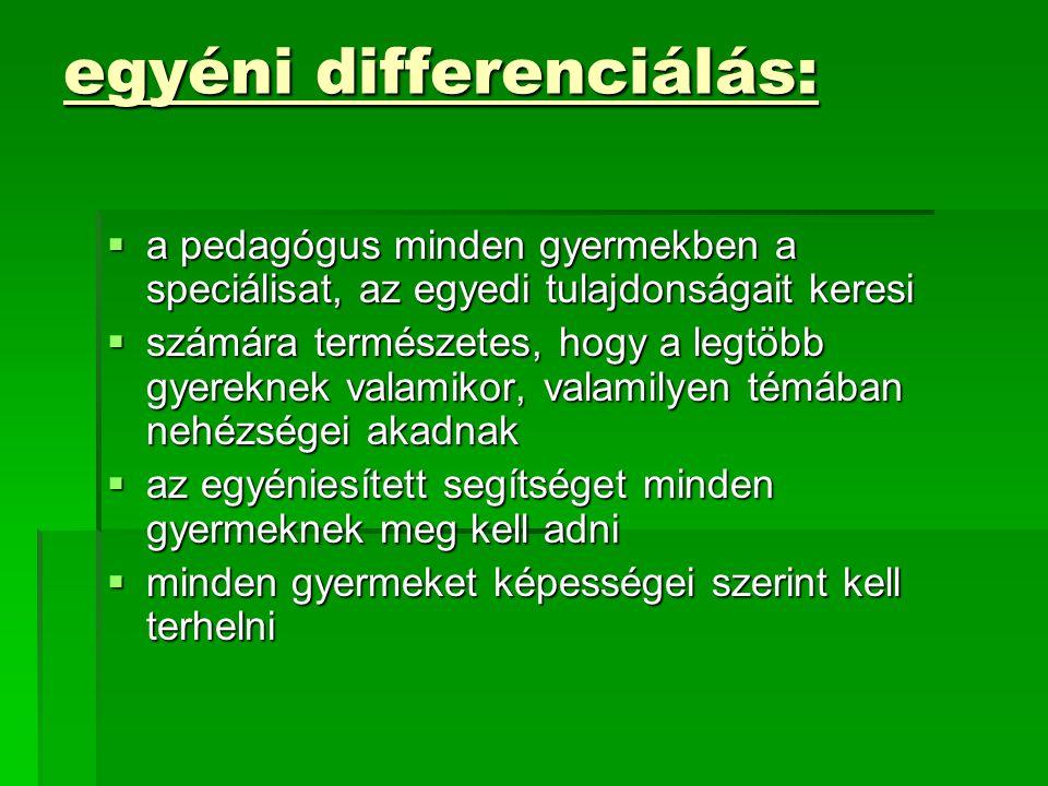 egyéni differenciálás: