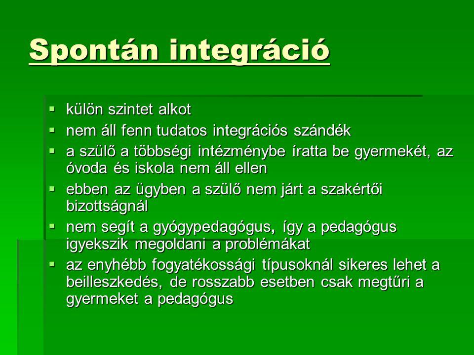 Spontán integráció külön szintet alkot