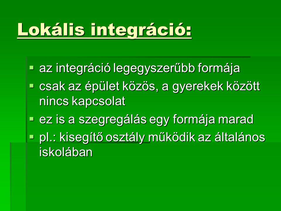 Lokális integráció: az integráció legegyszerűbb formája