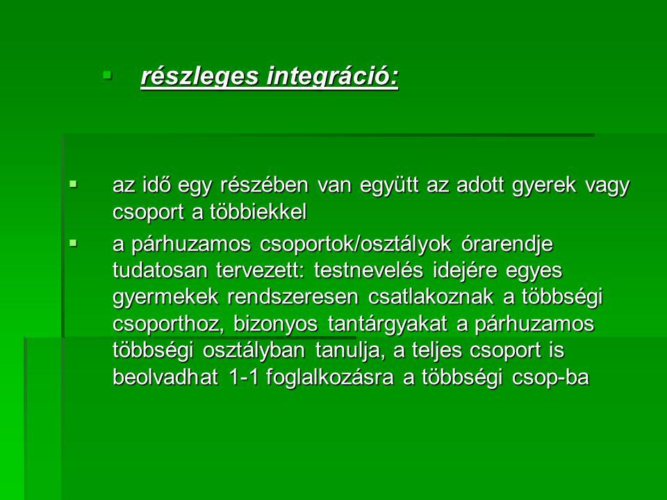 részleges integráció:
