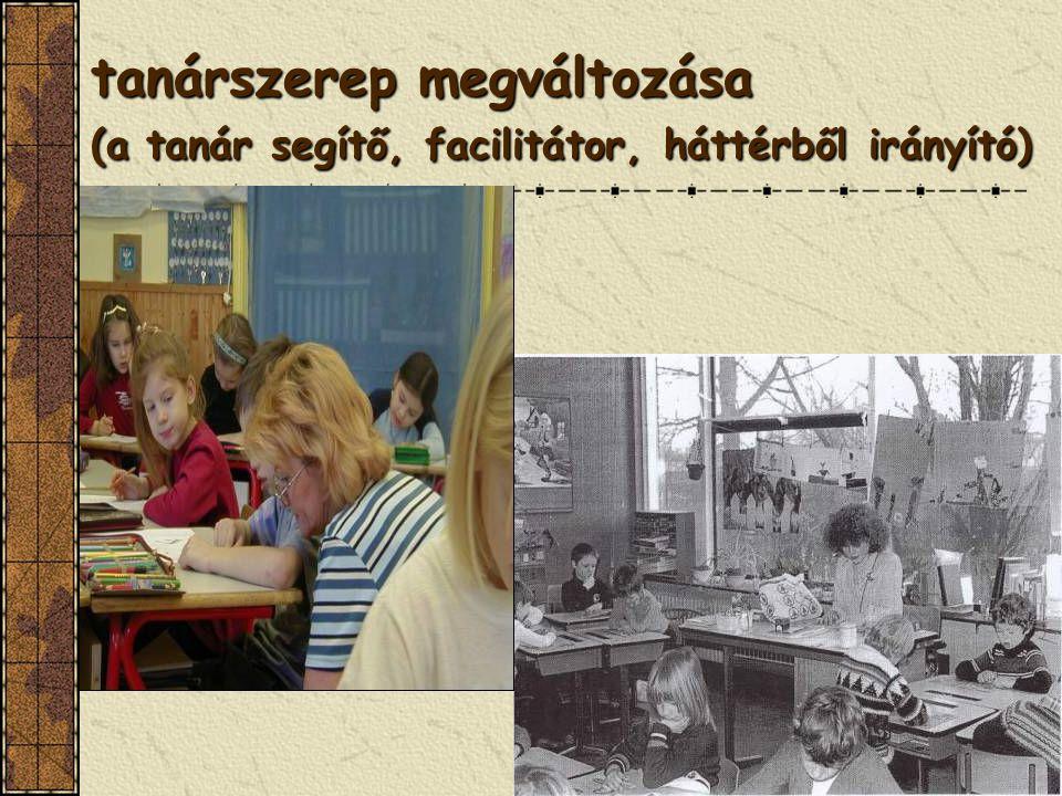 tanárszerep megváltozása (a tanár segítő, facilitátor, háttérből irányító)