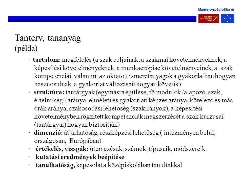 Tanterv, tananyag (példa)