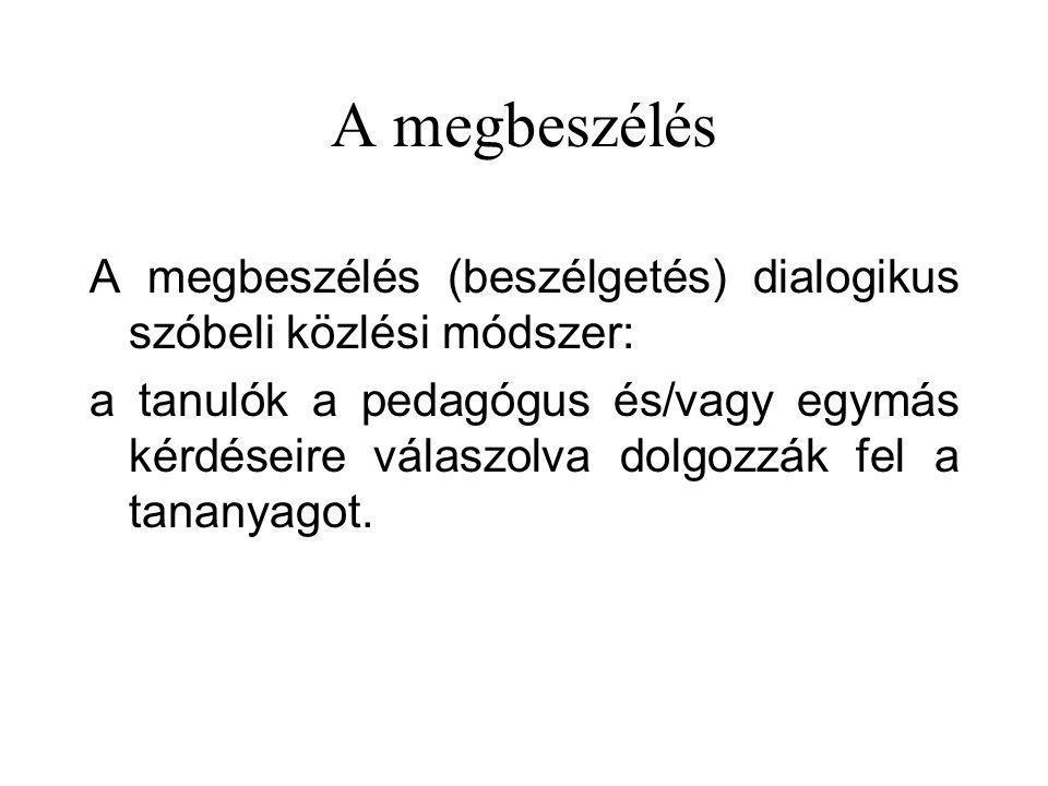 A megbeszélés A megbeszélés (beszélgetés) dialogikus szóbeli közlési módszer: