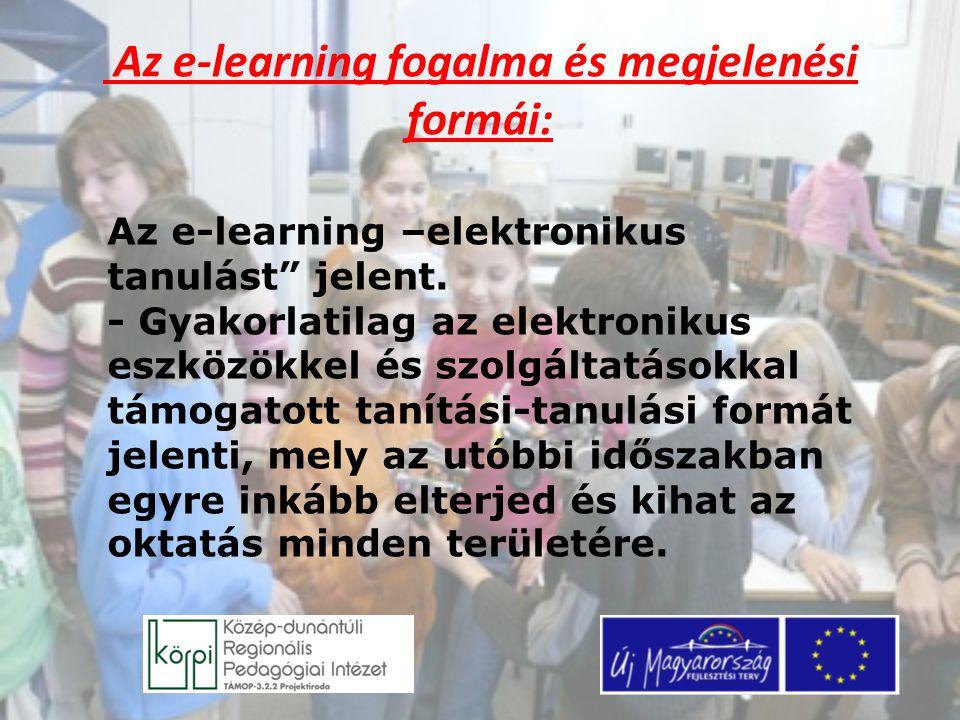 Az e-learning fogalma és megjelenési formái: