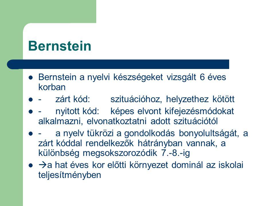 Bernstein Bernstein a nyelvi készségeket vizsgált 6 éves korban