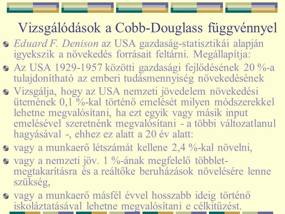 Vizsgálódások a Cobb-Douglass függvénnyel