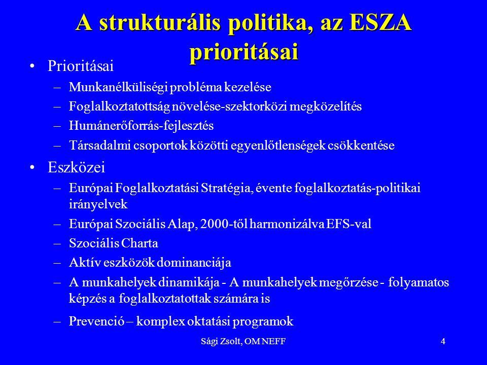 A strukturális politika, az ESZA prioritásai