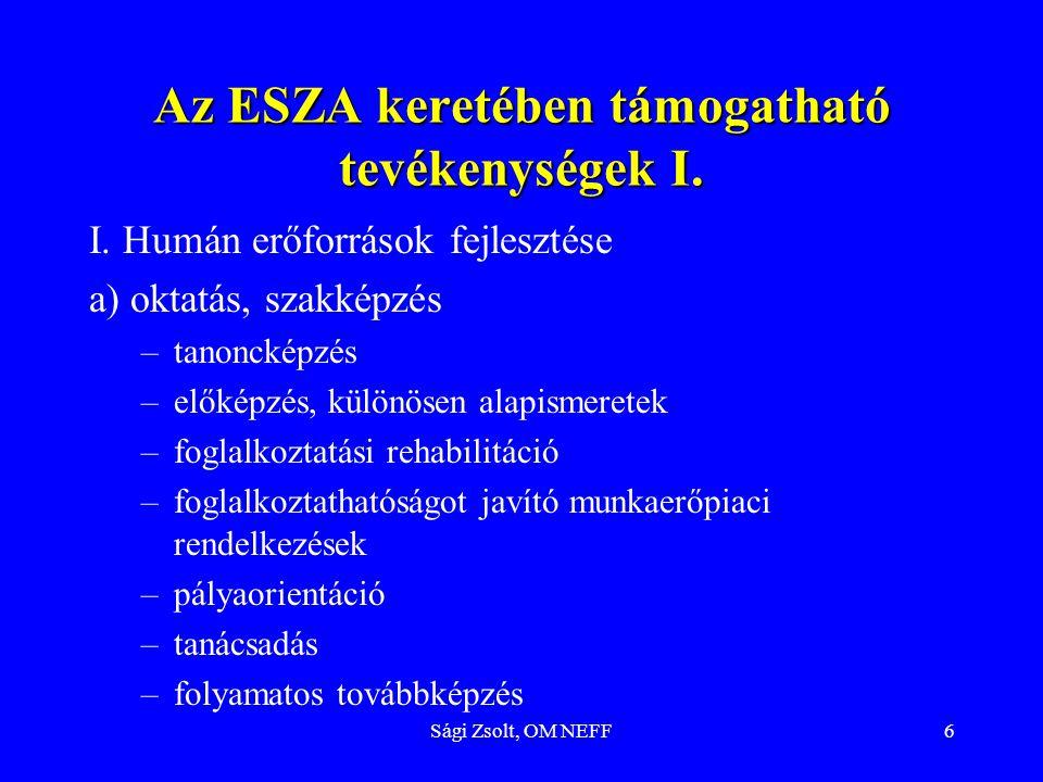 Az ESZA keretében támogatható tevékenységek I.
