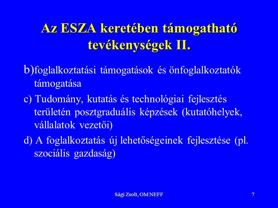 Az ESZA keretében támogatható tevékenységek II.