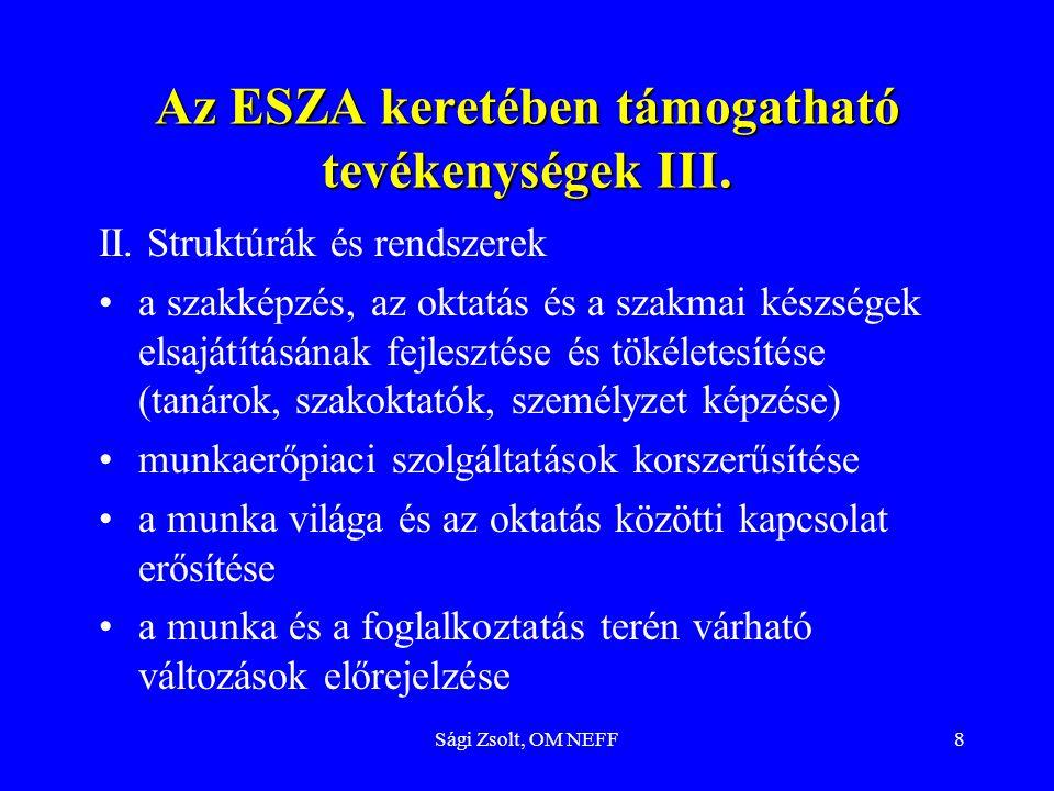 Az ESZA keretében támogatható tevékenységek III.