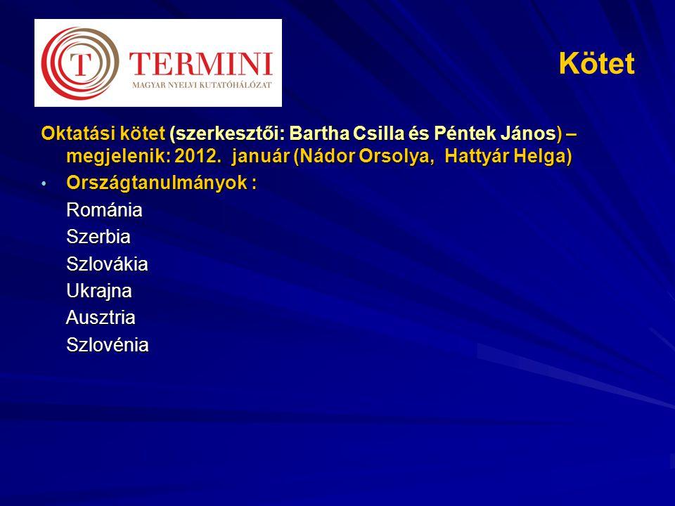 Kötet Oktatási kötet (szerkesztői: Bartha Csilla és Péntek János) – megjelenik: 2012. január (Nádor Orsolya, Hattyár Helga)