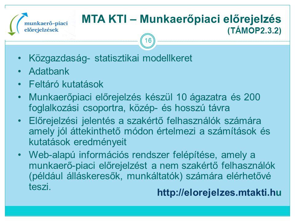 MTA KTI – Munkaerőpiaci előrejelzés (TÁMOP2.3.2)