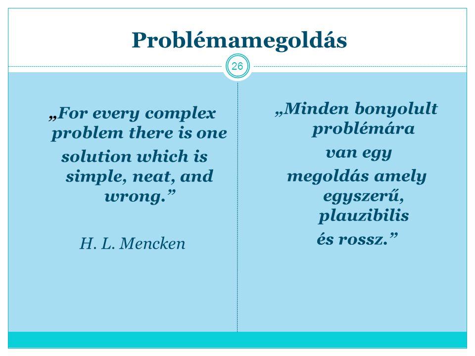 """Problémamegoldás """"Minden bonyolult problémára"""