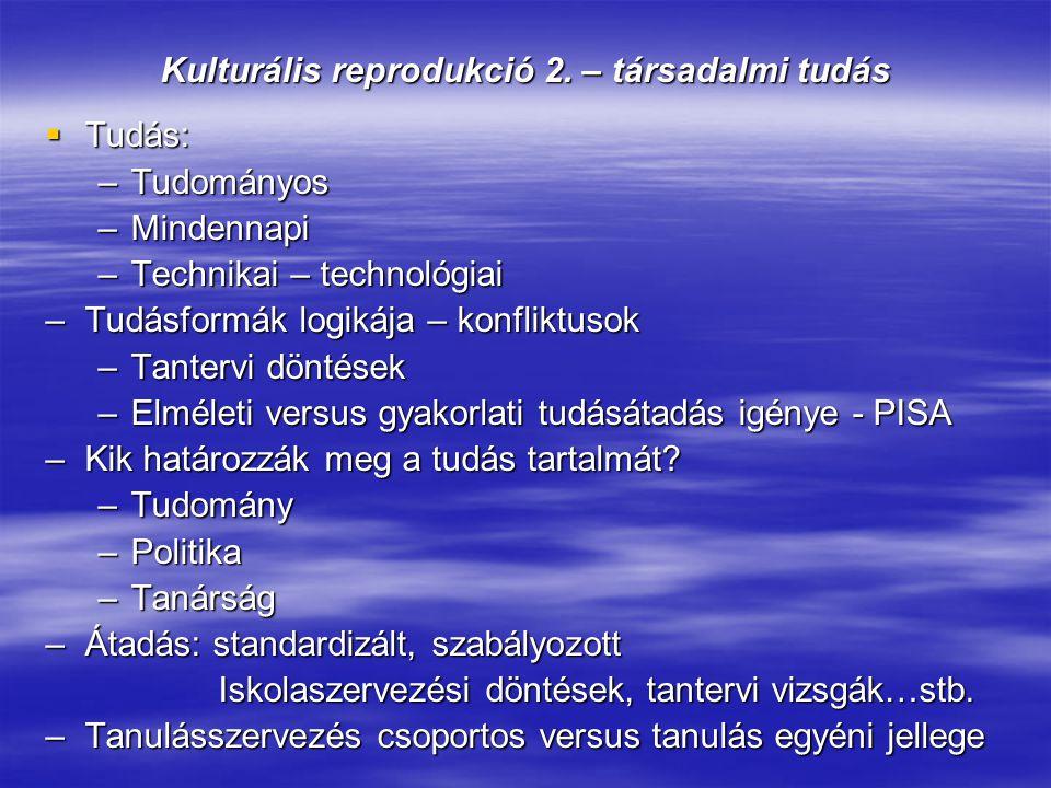 Kulturális reprodukció 2. – társadalmi tudás