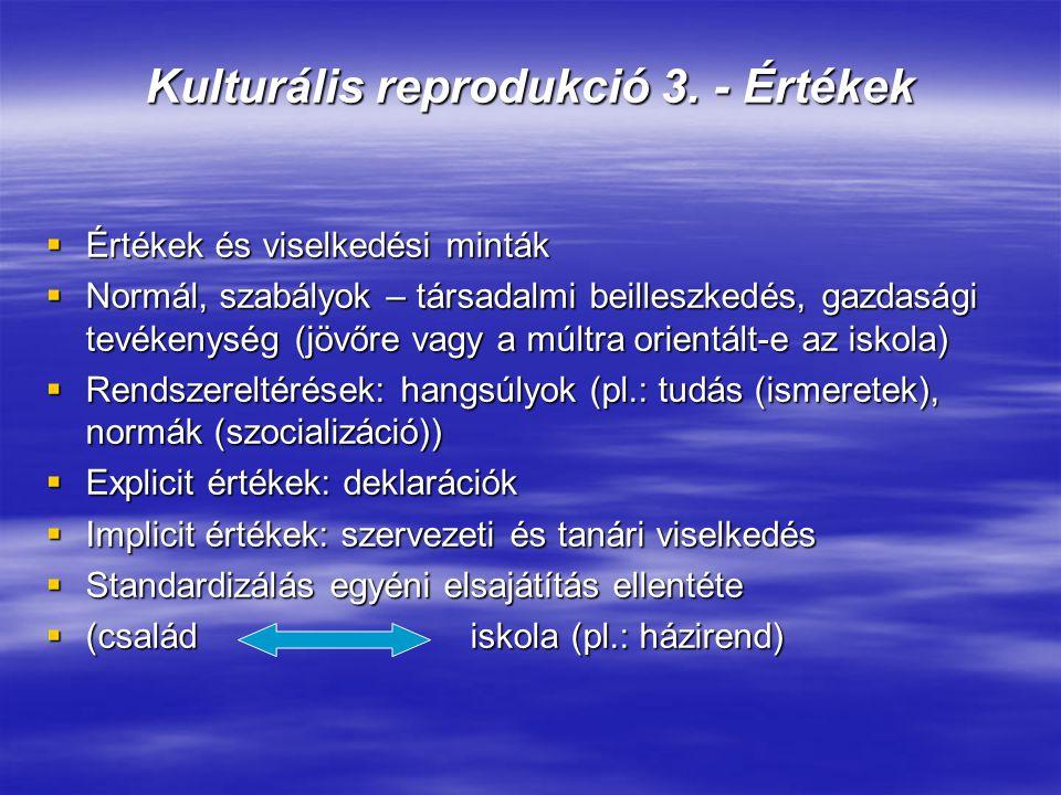Kulturális reprodukció 3. - Értékek