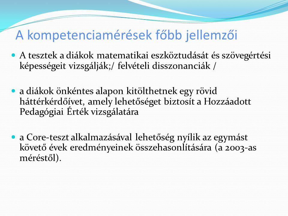 A kompetenciamérések főbb jellemzői