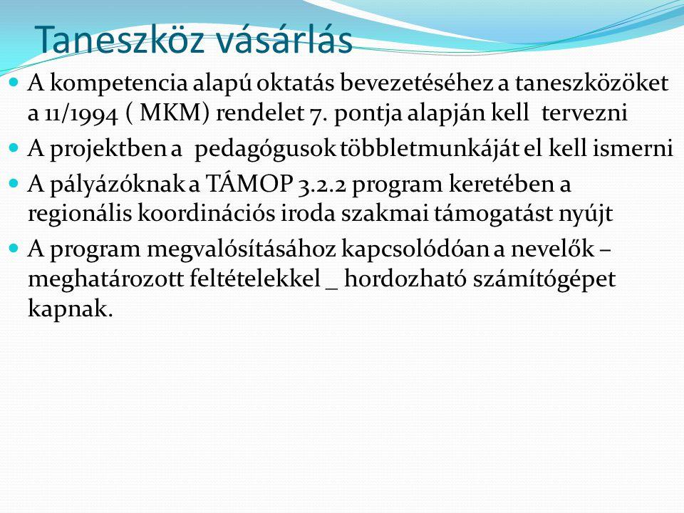 Taneszköz vásárlás A kompetencia alapú oktatás bevezetéséhez a taneszközöket a 11/1994 ( MKM) rendelet 7. pontja alapján kell tervezni.