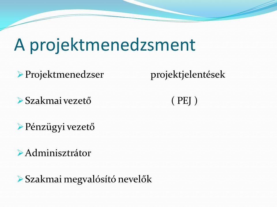 A projektmenedzsment Projektmenedzser projektjelentések