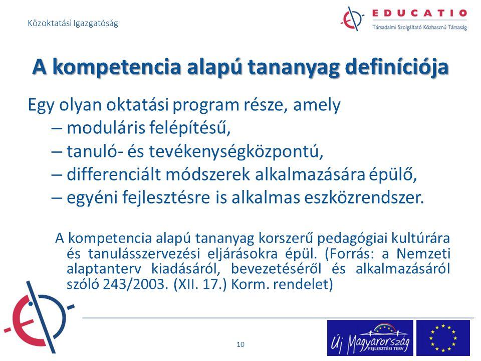A kompetencia alapú tananyag definíciója