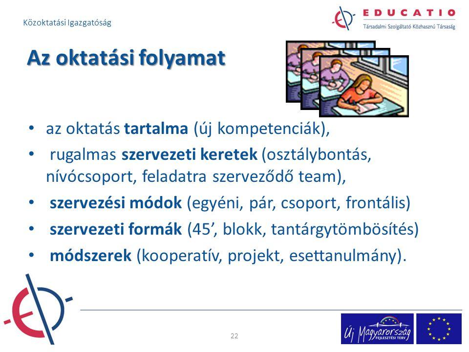 Az oktatási folyamat az oktatás tartalma (új kompetenciák),