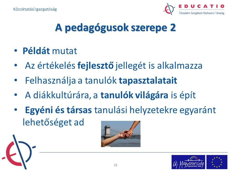 A pedagógusok szerepe 2 Példát mutat